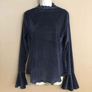 Fourteenth Place Blue Corduroy Velvet Turtleneck